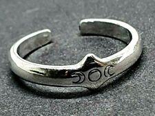 Toe Ring Triple Moon Goddess Solid 925 Sterling Silver Priestess Adjustable UK
