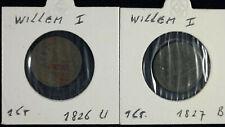 2 x 1 Cent 1926 U + 1926 B Niederlande | Willem I. | jeweils im Münzrahmen