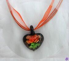 Pendentif Coeur Placida Fleur Orange Incrustée Verre Soufflé Style Murano