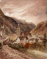 LANDSCAPE AT BRIG SWITZERLAND Watercolour Painting - 19TH CENTURY - GRAND TOUR