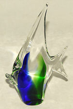 FORMIA - Vetri MURANO - Blue & Green ANGEL FISH - Italian Art Deco Glass *ITALY!