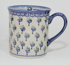 "ANDY Polish Pottery Unikat Coffee Mug Signed Boleslawiec ""WCSC"" Blue Grapes"