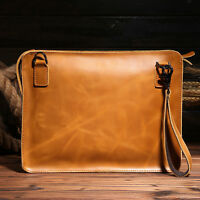 Men's Genuine Leather Cowhide Business Attache Briefcase Tote Shoulder Bags