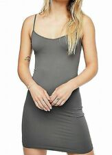 Free People Womens Mini Slip Dress Gray Small XS/ S Seamless Cami V-Neck $30 772
