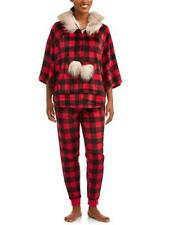 Secret Treasures Womens Jammers Fur Hooded Poncho Pajama PJ Set Buffalo  Plaid S 498f6cabc