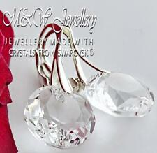 925 SILVER EARRINGS CRYSTALS FROM SWAROVSKI® 14MM CLASSIC CUT - CRYSTAL CLEAR