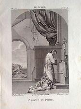 SAN BRUNO IN PREGHIERA in ginocchio Incisione origin. XIX secolo RELIGIOSE