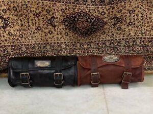 Leather Motorcycle Tool Bag Saddle Storage Pouch Luggage Handlebar(Brown/black)