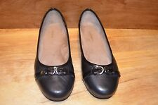 Easy Spirit Womens Flat Black Leather PECKHAM Dress Shoes 7.5 W Wide Silver NICE