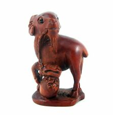 Boxwood Hand Carved Netsuke Sculpture Miniature Goat Mouth Holding Bag #01061503