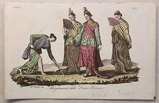 Asien Thailand Burma Trachten Kupferstich um 1825 Bernieri handkoloriert Grafik