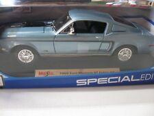 MAISTO 1:18 1968 Ford Mustang GT Cobra Jet DIECAST BLUE