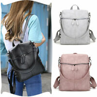 Women's Leather Backpack Anti-Theft Rucksack School Travel Shoulder Bag Satchel