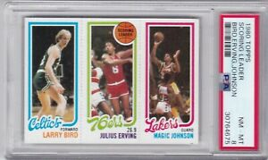 1980 Topps Basketball Card Scoring Ldrs Larry Bird & Magic Johnson Rookie PSA 8