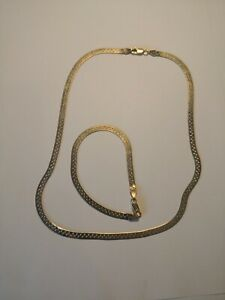 Solid  Silver 925 gold plated Italy milor herringbone/flat necklace bracelet