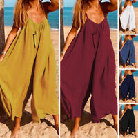 Women Strap Jumpsuit Summer Beach Loose Wide Leg Harem Pants Culottes Rompers