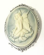 Spilla 52x42m cammeo fata 4x3cm blu/verde gothic retro victorian fairy brooch