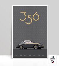 """Gray Porsche 356 Continental hexagon patt. Art Print on Aluminum Poster 18""""x 24"""""""