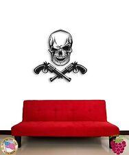 Wall Stickers Vinyl  Revolvers Guns Winking Skull Modern Funny Decor  z1535