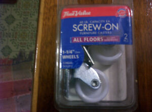 """2   Furniture Casters 1 1/4""""  Wheels. Screw On Style"""