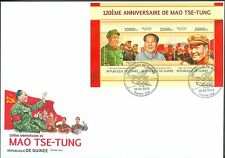 GUINEA 2013 MAO ZEDONG 120TH BIRTH ANNIVERSARY SHEET OF THREE STAMPS FDC