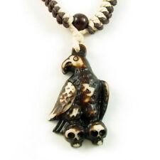 Necklace Genuine Bone carved pendant w/ beads Eagle