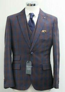 Men's Broken Stitch  Burgundy Coniston Slim Fit Suit 3pc Mix & Match...Ref 7574