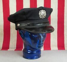 Vintage 1950s Firefighters Uniform Hat Brookfield,CT Fire Dept w/Badge Visor Cap
