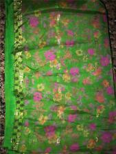 Spring Green Pink Gold Sari Indian Saree Bollywood Fabric Panel Drape