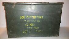 Vintage Military Green 7.62 Nato Metal Ammo Storage Box 600 Cartridges