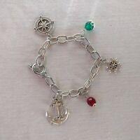 Nautical Charm Bracelet Silver Tone Ship's Wheel Anchor Compass Green Red Bead