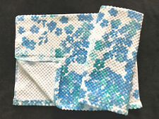 PERI - FLOATING FLOWER - AQUA BLUE TURQUOISE - HAND TOWELS - SET OF 2 - NEW