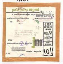 AN109 1966 GB PRIVATE PARCEL LABEL Liverpool Moores *Home Shopping Service*Piece
