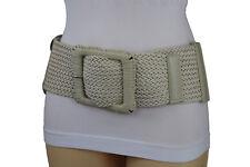 Women Fashion Elastic Cream Off White Braided Faux Leather Stretch Belt M L XL