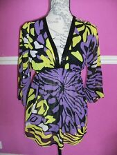 JANE NORMAN SHEER TUNIC TOP  SUMMER PARTY BLOUSE PURPLE YELLOW FLORAL 8 .