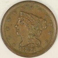 1853 Braided Hair Half Cent. AU. RAW3605/BRH