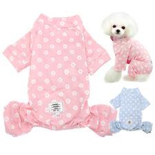 Floral Dog Pajamas Pet Dog Clothes Small Medium Cat Pyjamas Vest Sleepwear Pink