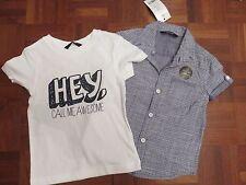 George Boys Short Sleeved Cotton Blue Shirt & white logo t shirt  2-3 years BNWT