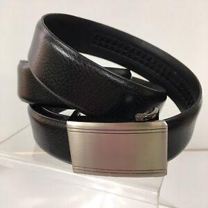 Black Leather Ratchet Belt Length Silver Buckle 34-36 L10