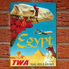 Vintage Travel Poster - Egypt TWA Trans World Airlines Camel Pyramids Sphynx- A4