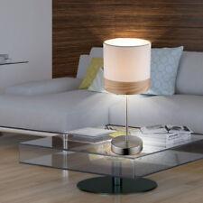 Design Bois Lampe de table bureau lecture tissu coloris beige éclairage H 35 cm