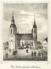 EISLEBEN - ST.-ANDREAS-KIRCHE - Saxonia - Lithografie 1834