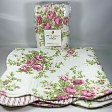 Vintage Laura Ashley Rose Scalloped Pillow Shams Quilted Cotton Pink Set of 2