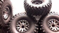 Wheels&tires(4) beadlock 1.9 Silver&black for really scaler 1/10 crawlers