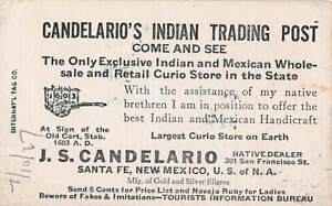 SANTA FE, NM ~ CANDELARIO'S INDIAN TRADING POST BUSINESS CARD 1900s CURIO STORE