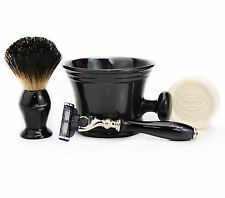 Gillette MACH 3 RAZOR SHAVING SET + Badger Hair Shaving Brush & Mug GIFT SET