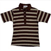 Vtg 1960s Polo Shirt Men's Striped Collared Shirt Brown Tan Med Short Sleeve