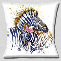 Cute Zebras Cushion Cover 16x16 inch 40cm Mum and Daughter Artistic Modern Multi