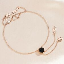 18K Rose Gold Filled Lab Agate & Diamond Heart Later Adjustable Slide Bracelet