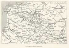 G0325 La France du Nord Industrielle - Carta geografica d'epoca - 1923 Old map
